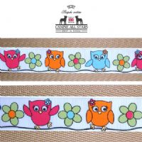MARTINGALE DOG COLLAR - CUTE OWLS ON WHITE